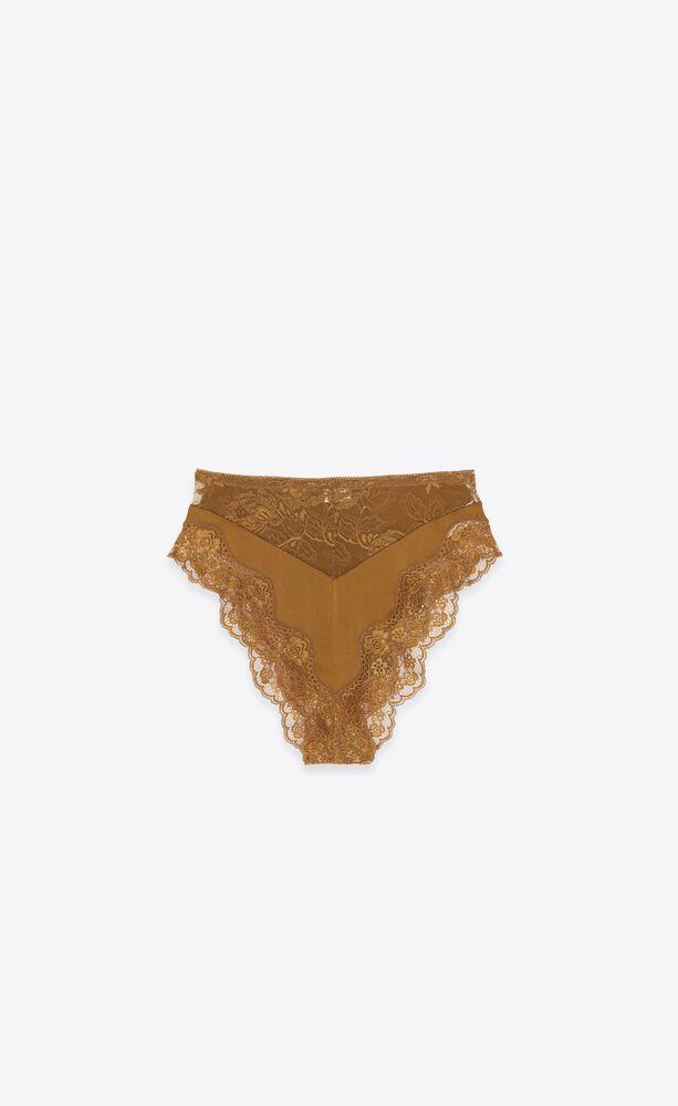 high-rise panties in stretch silk satin and lace