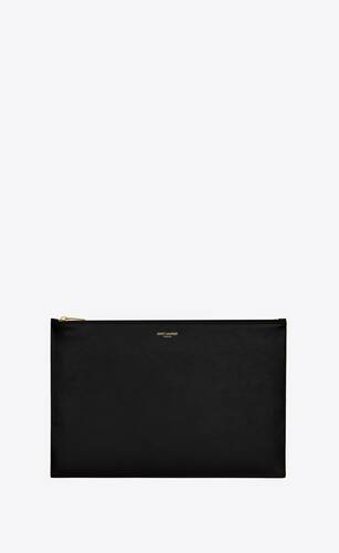 saint laurent large flat pouch in shiny leather