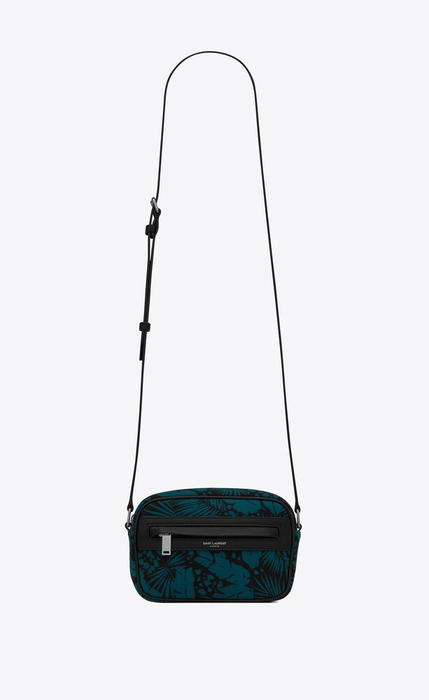 camp small camera bag in tropical canvas and lambskin