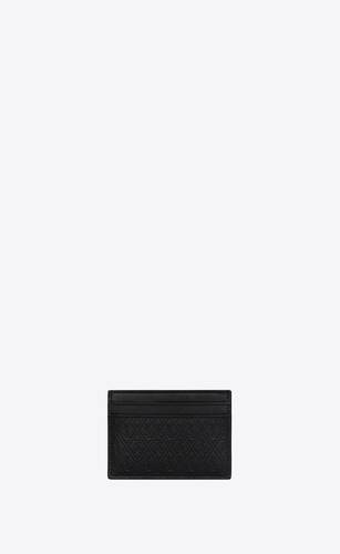 monogram card holder in embossed smooth leather