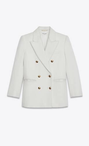 veste à double boutonnage en flanelle de laine et cachemire