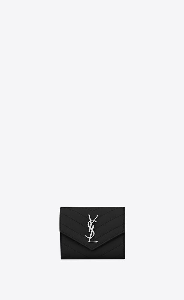 kompaktes, dreifaches saint laurent portemonnaie aus schwarzem matelassé-leder mit struktur