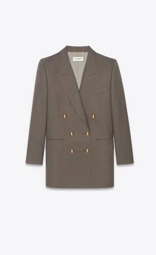 double-breasted yves jacket in light wool gabardine