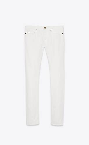 slim-fit jeans in white stonewashed denim