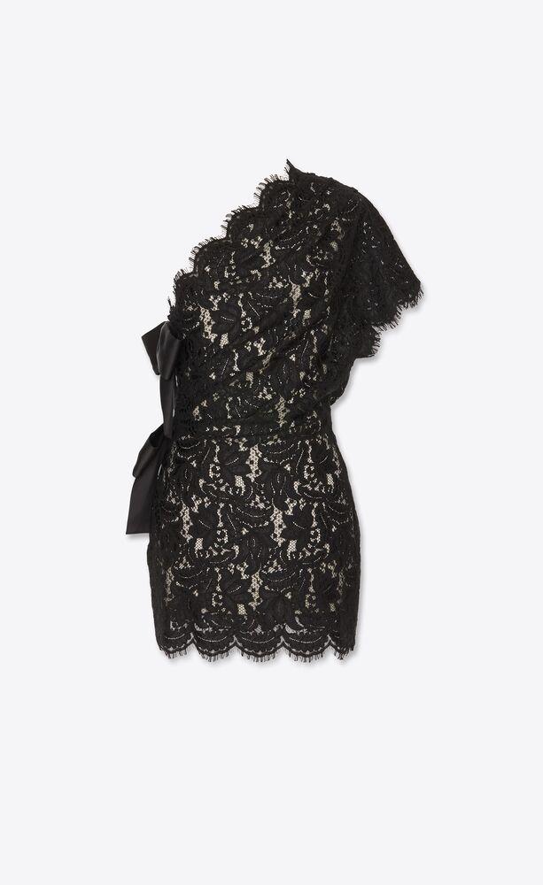 one-shoulder dress with bows in fleur-de-lys lace