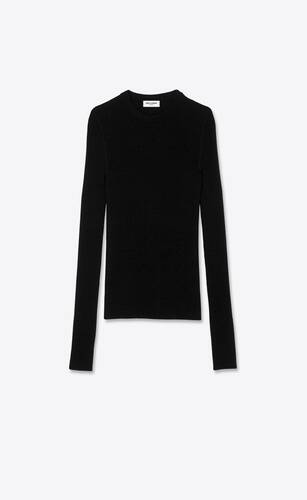 ribbed sweater in cashmere, wool and silk
