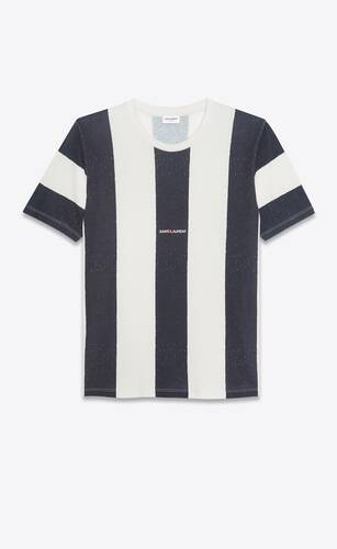 striped saint laurent logo t-shirt