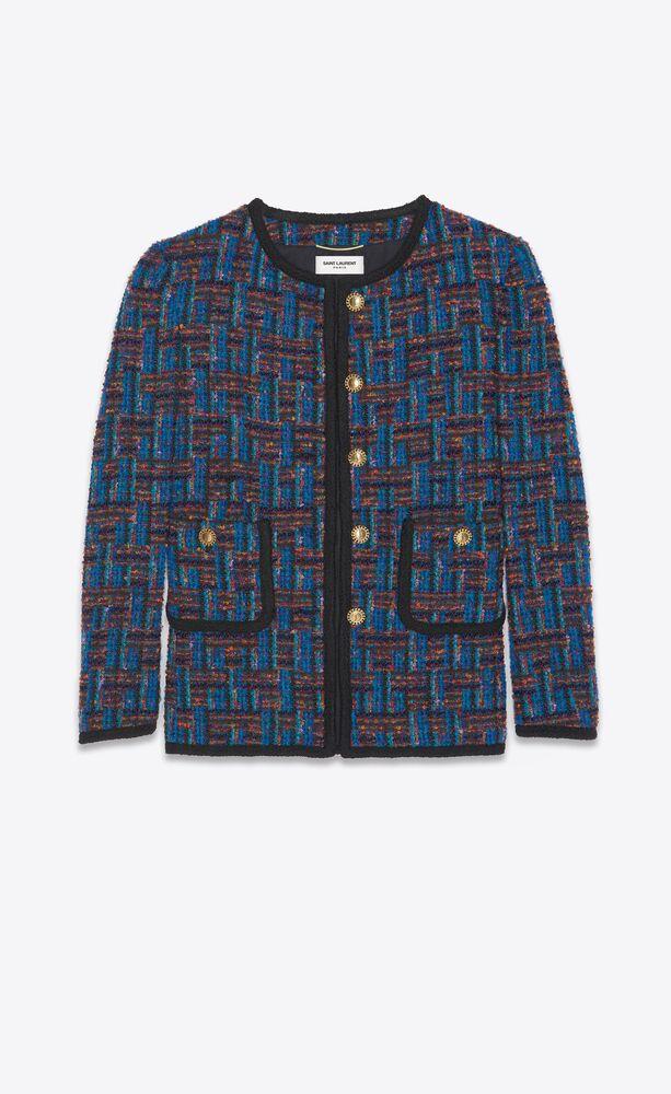 veste courte boutonnée en tweed bouclé
