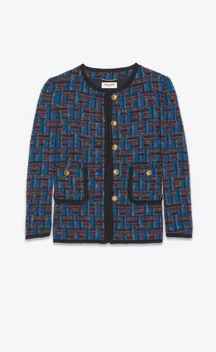 short buttoned jacket in bouclé tweed