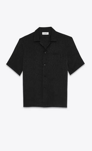 camisa de cuello italiano de seda con estampado leopardo brillante y mate