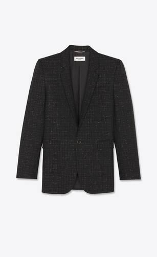 quadratisch geschnittene, lange jacke aus woll-serge mit lamé-karomuster