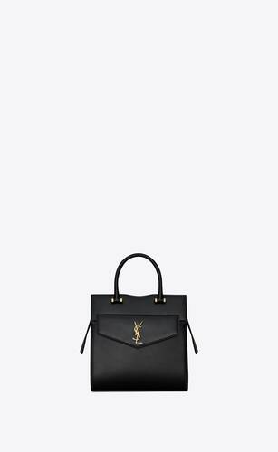 uptown small tote in box saint laurent leather