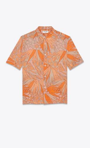 short-sleeve shirt in jungle flower-print viscose