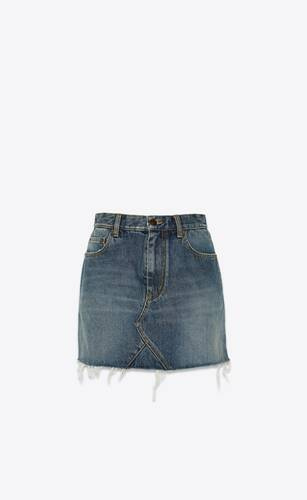 triangle mini skirt in dusk blue heavy denim twill