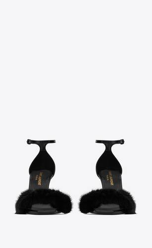 bea sandals in patent leather and mink
