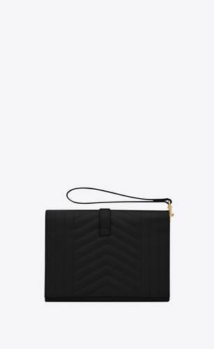 monogram clutch in mix matelassé grain de poudre embossed leather