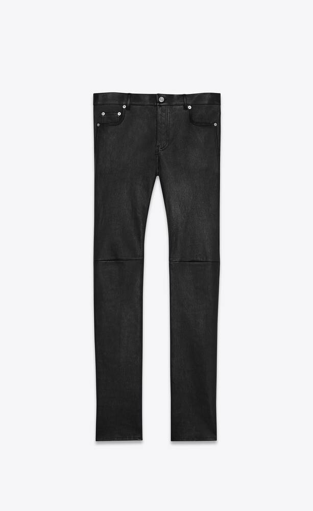 skinny pants in stretch grained leather