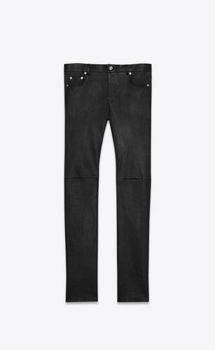 skinny pants in grained lambskin