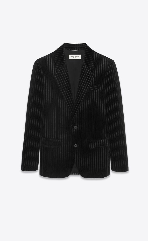 single-breasted jacket in pinstripe velvet