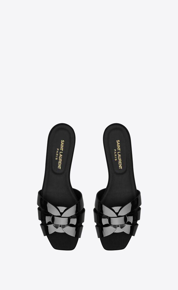 nu pieds 05 tribute riemchensandale aus schwarzem lackleder