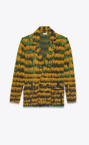 double-breasted knit jacket in abstract-feather mohair jacquard