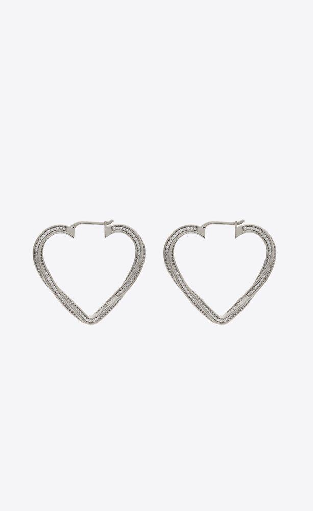 smoking twisted heart hoop earrings in metal and crystal