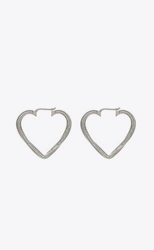 smoking twisted heart hoop earrings in metal and crystal