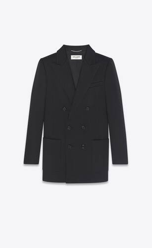 double-breasted jacket in wool twill