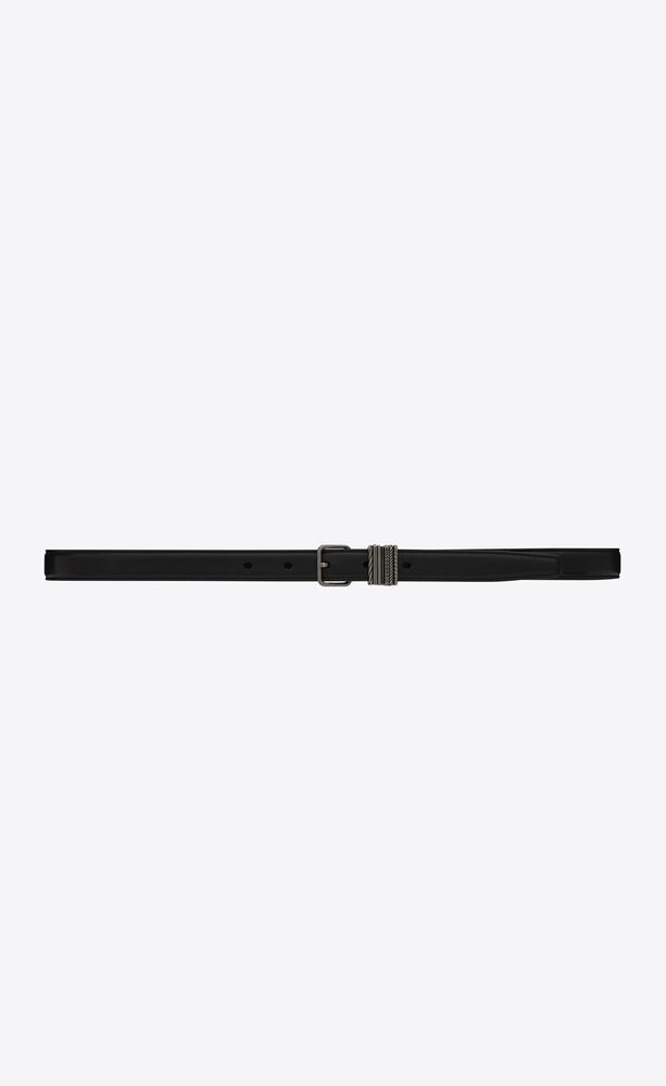 stacked-loop thin belt in lambskin