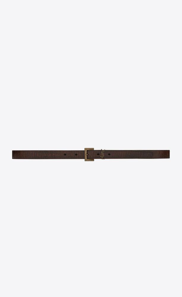 monogram narrow belt in crackled leather