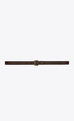 monogram narrow belt in crackled leather