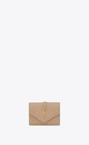 monogram porte-cartes en cuir mix matelassé embossé grain de poudre