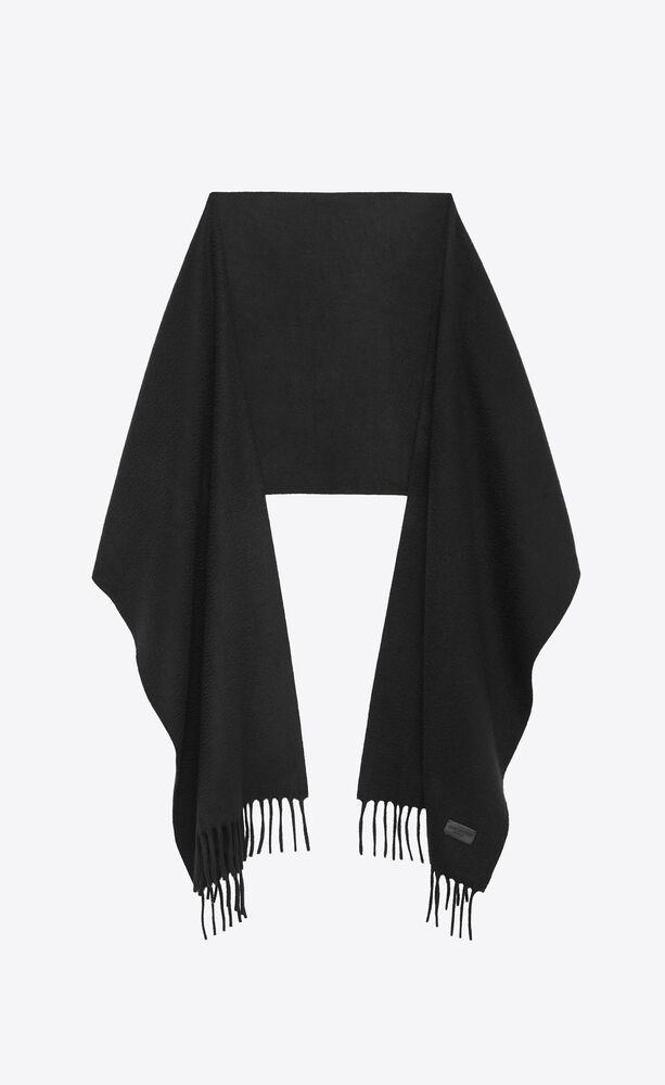 knit fringed scarf in black cashmere