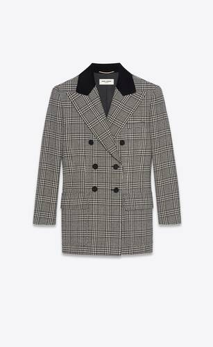 double-breasted jacket in prince of wales wool tweed
