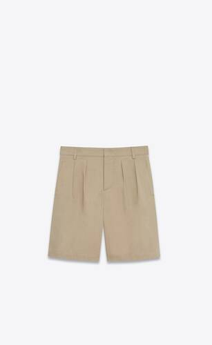 pleated chino bermuda shorts in cotton serge
