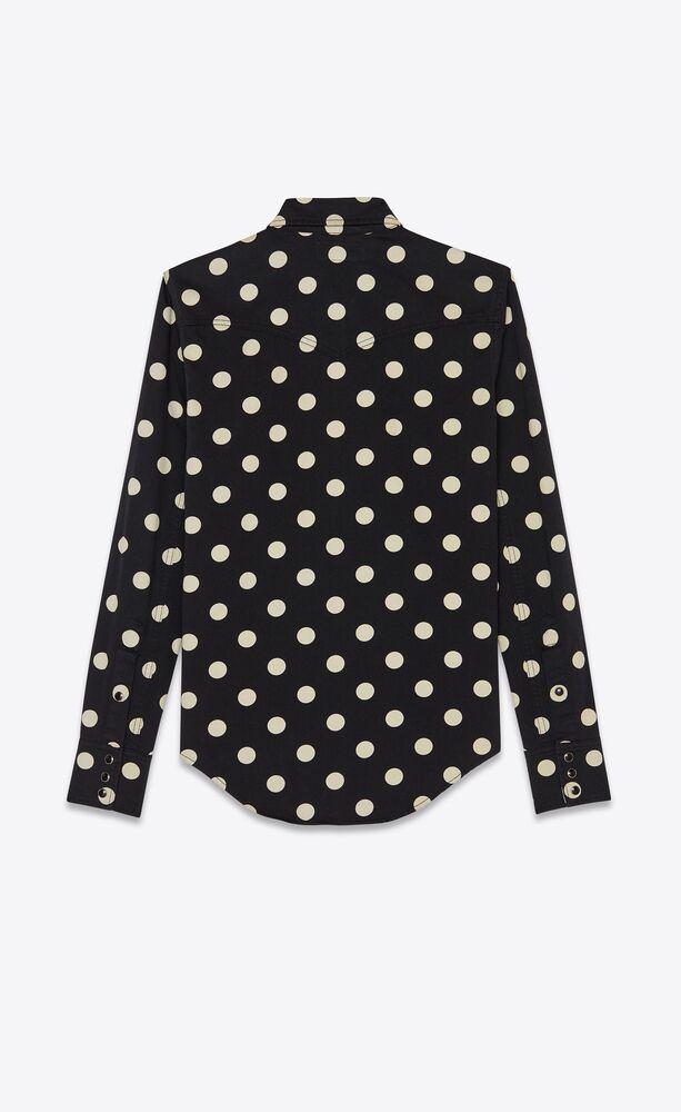 slim-fit western shirt in dotted black enzyme washed denim