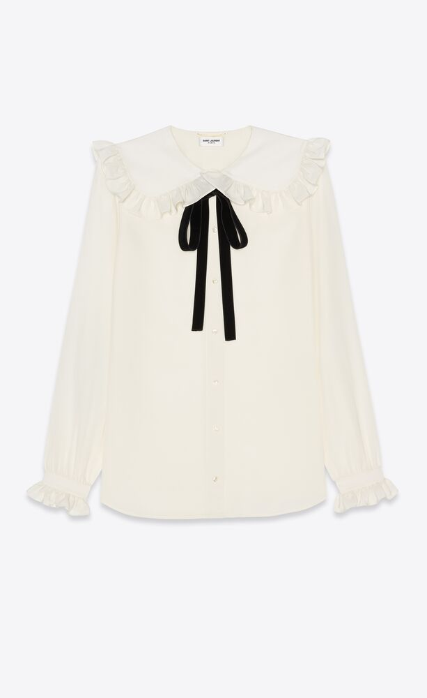 frilled blouse in silk crepe de chine