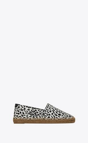 saint laurent embroidered espadrilles in babycat-print canvas