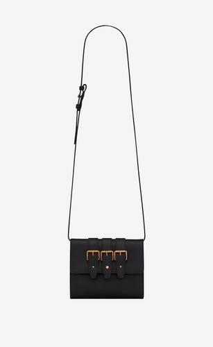 3-buckles satchel en cuir lisse