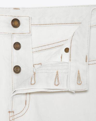 raw-edge shorts in gray off-white denim