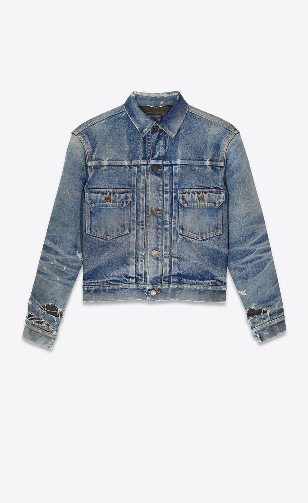 destroyed jacket in '70s blue trash denim