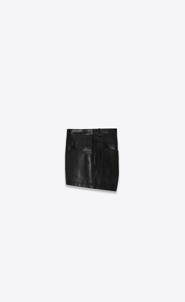 mid-rise shorts in waxed lambskin
