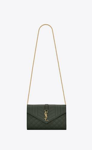 monogram chain wallet in mix matelassé grain de poudre embossed leather
