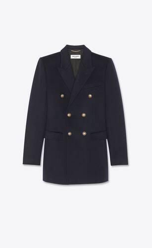 giacca doppiopetto in flanella di cashmere