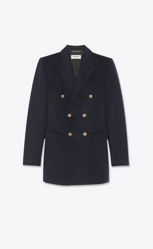 chaqueta con doble botonadura de franela de cachemira
