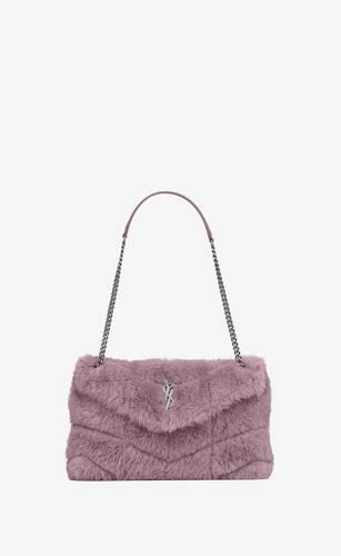 puffer small bag in merino shearling and lambskin