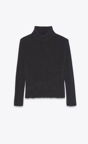 suéter con cuello vuelto de punto acanalado