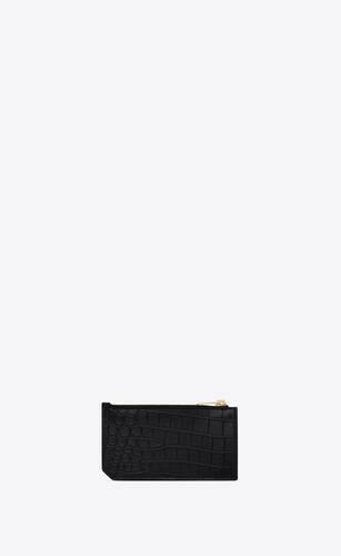 tiny monogram fragments kartenetui mit reißverschluss aus mattem leder mit krokoprägung