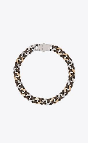 dual-texture curb chain necklace in metal