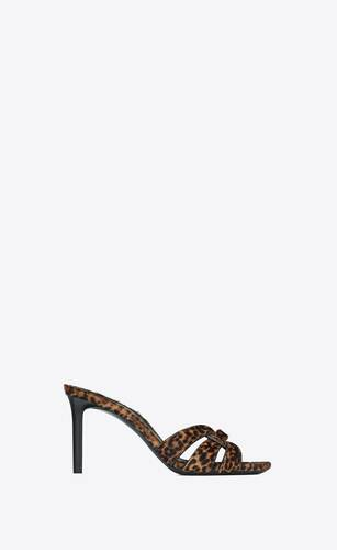 tribute heeled mules in leopard-print pony-effect leather